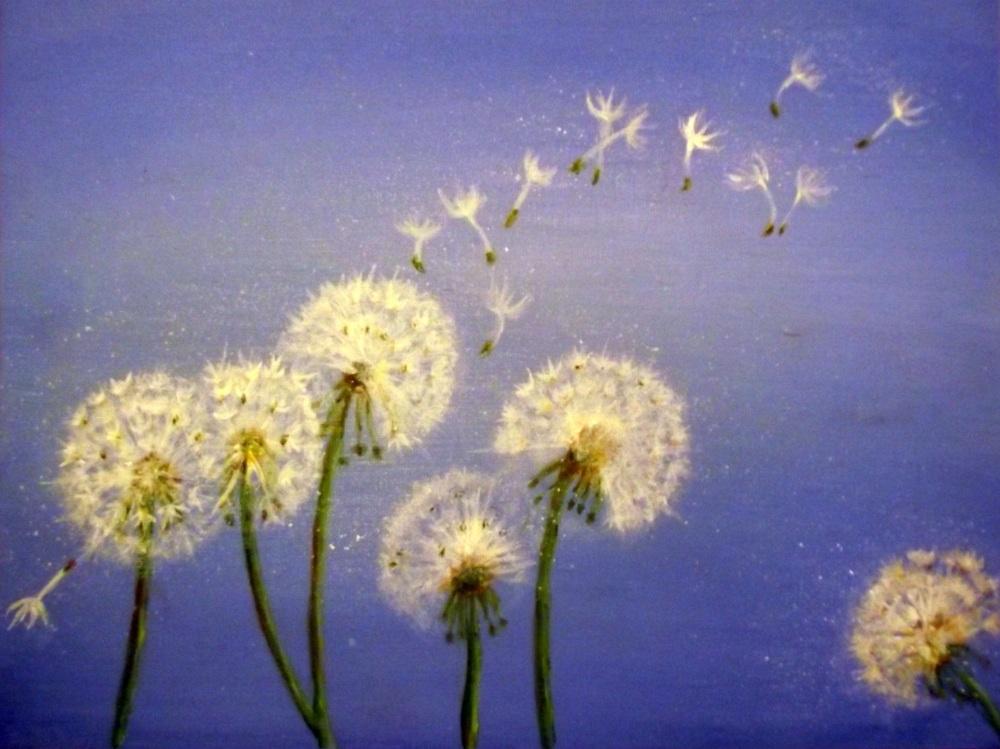 Dandelions, Blue Skies, Summer, Acrylic Painting